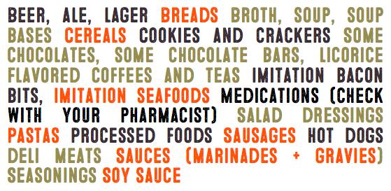 Gluten ingredients