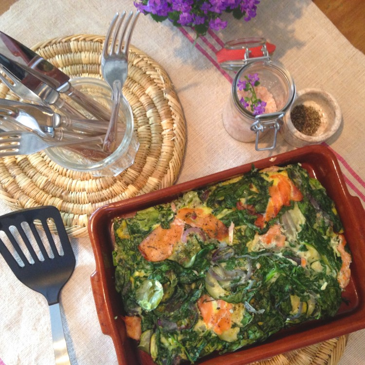 Smoked salmon frittata, Smoked salmon, thyme & spinach frittata, how to make frittata, healthy frittata
