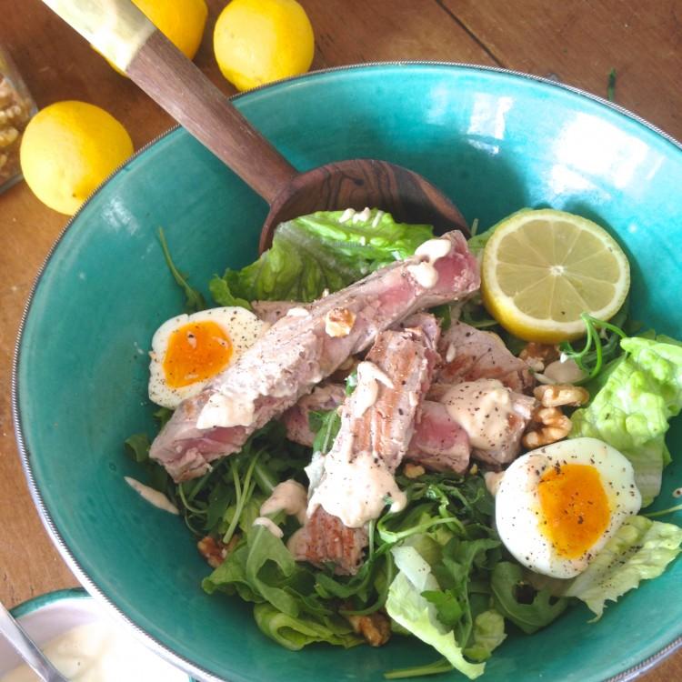 Tuna nicoise, Tuna nicoise with basil, lemon & tahini dressing, healthy tuna recipes