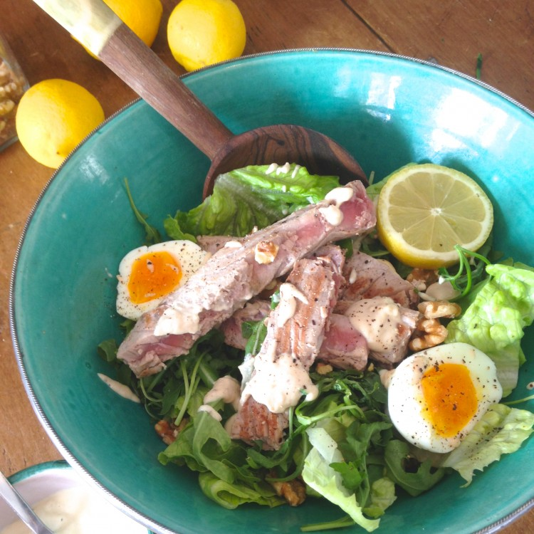 Tuna nicoise with basil, lemon & tahini dressing