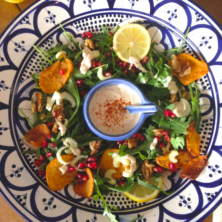 Tahini Walnut Salad, Pomegranate, Sweet potato and Tahini Walnut Salad, healthy salad recipe, vegetarian salad