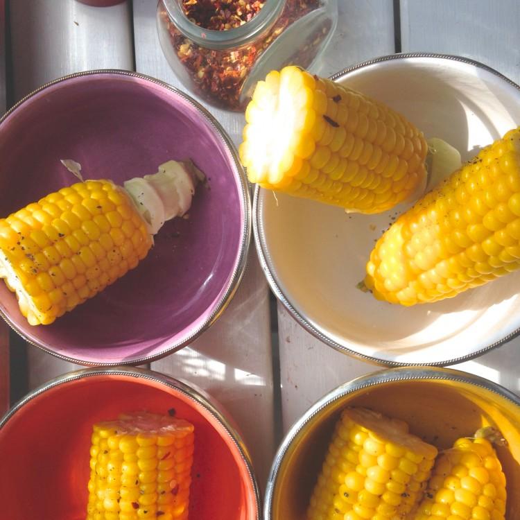 Coconut & chili corn on the cob