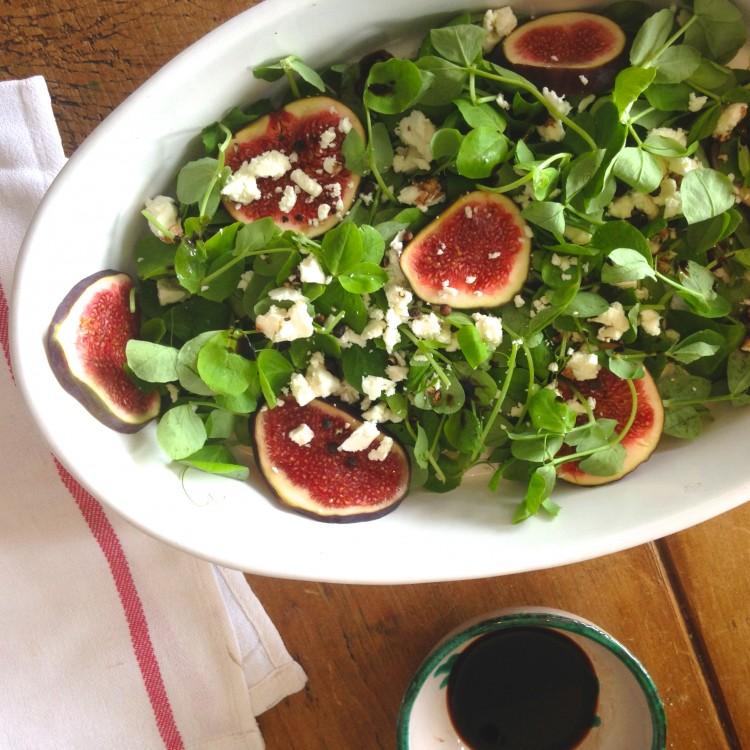 Fig & pea shoot salad with feta & Sweet Balsamic Vinegar