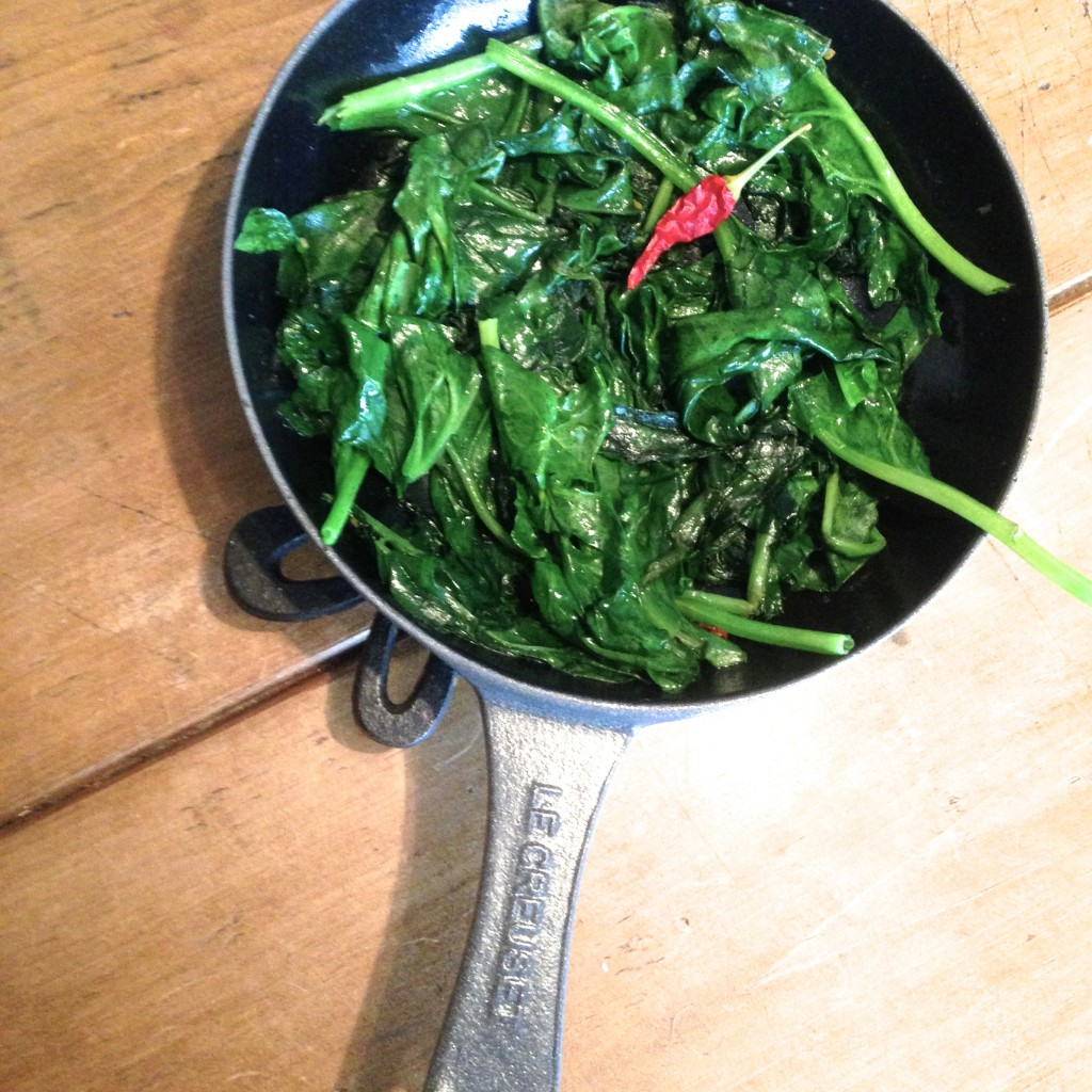 Spinach sautéed with garlic & chilli