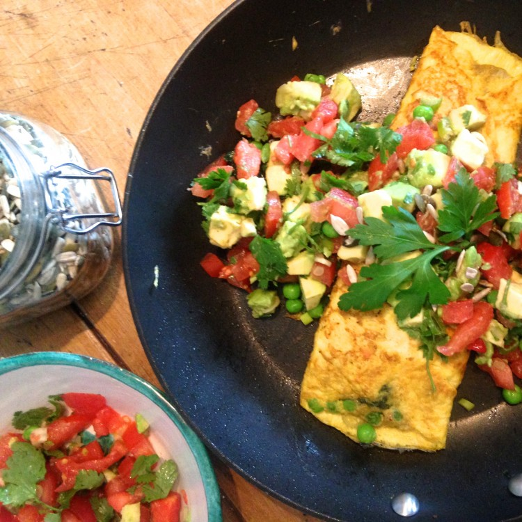 Parsley and pea crepe with tomato salsa