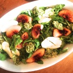 Grilled peach salad with mint pesto