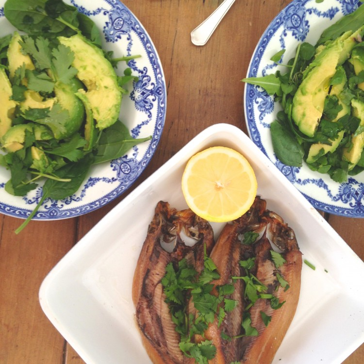 Manx kippers with pea shoot & rocket salad, healthy salad recipe, healthy kippers salad recipe