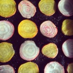 Candy and golden beetroot crisps