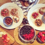 American-style buckwheat pancakes with fancy toppings