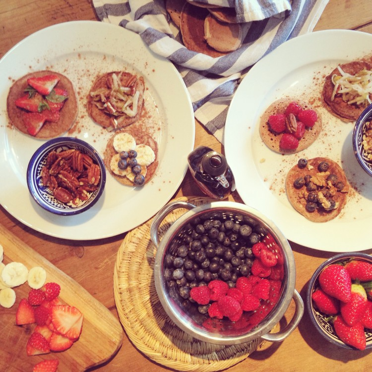 American style buckwheat pancakes with fancy toppings JESSIPES