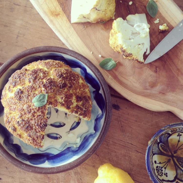 Whole roasted curried cauliflower, healthy cauliflower recipes, how to make roasted cauliflower