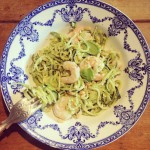 Lemon & basil pesto courgetti with garlic prawns