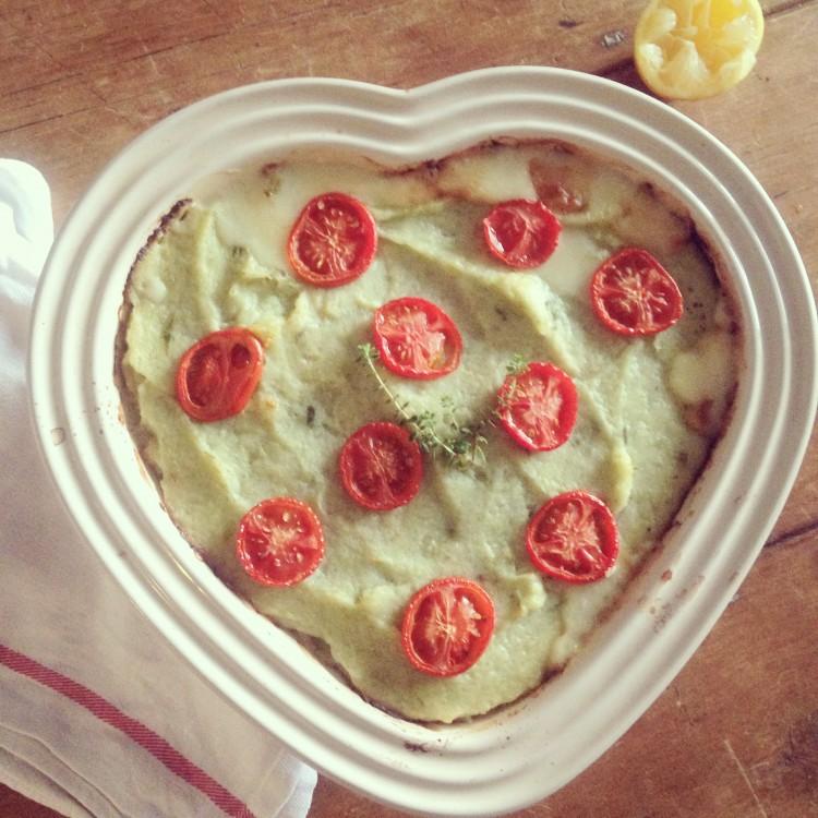 Fish pie with leek and cauliflower mash