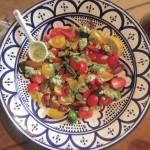 3 minute tomato and basil pesto salad