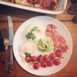 Bacon, roasted vine tomatoes & basil avocado