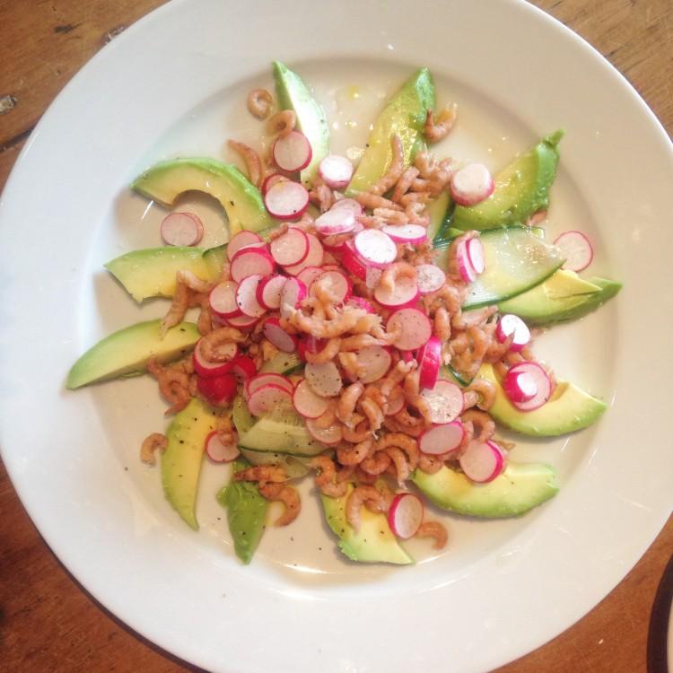 Shrimp, avocado & radish salad, healthy salad, shrimp salad