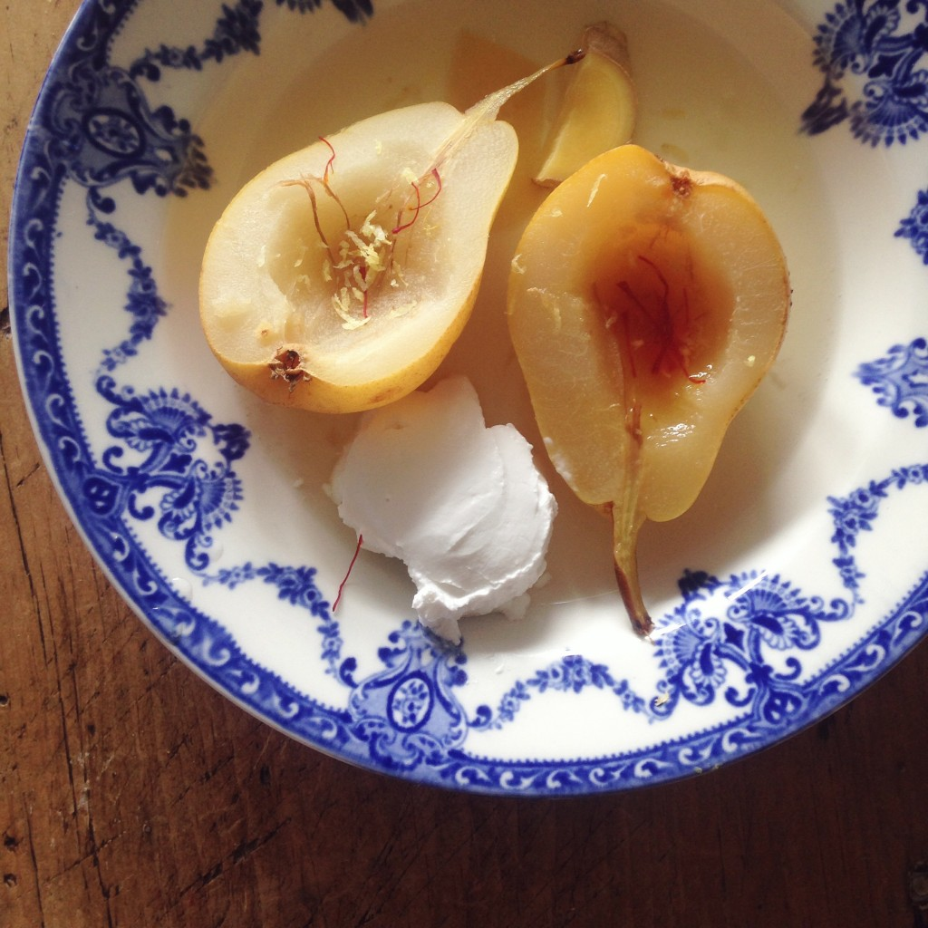 Coconut poached pears with lemon & ginger