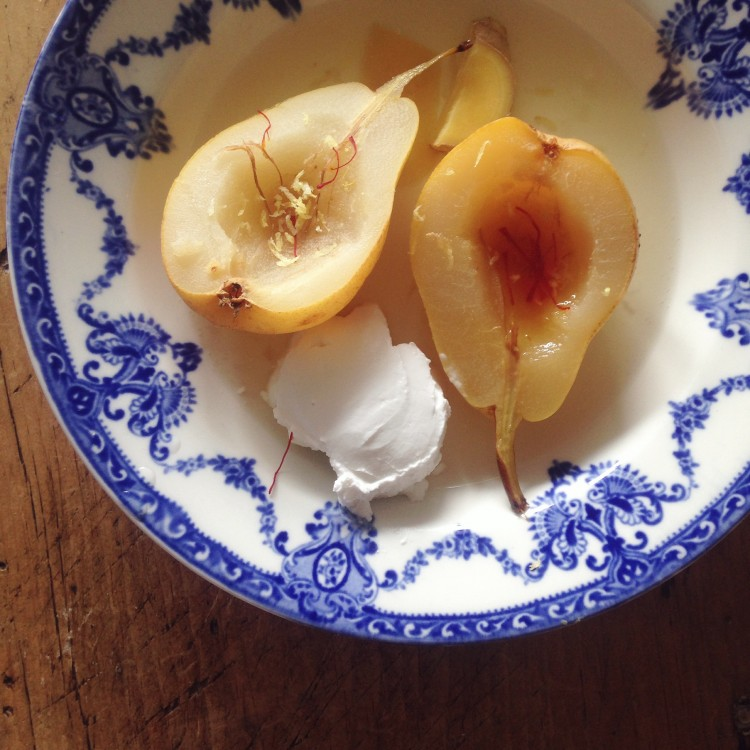 Coconut poached pears with lemon & ginger, poached pears, healthy snack