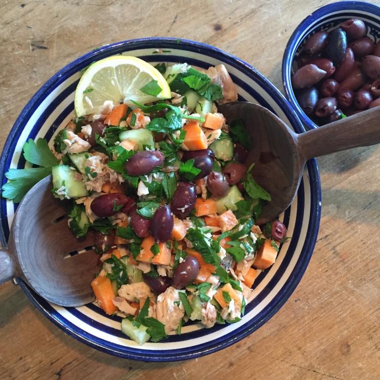 Mediterranean salmon & olive salad, mediterranean healthy salad, olive salad ingredient