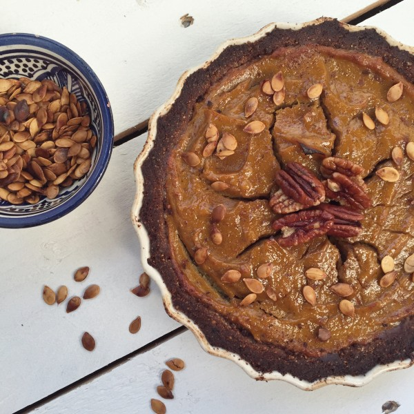 Pumpkin Pie with a Spiced Pecan Crust