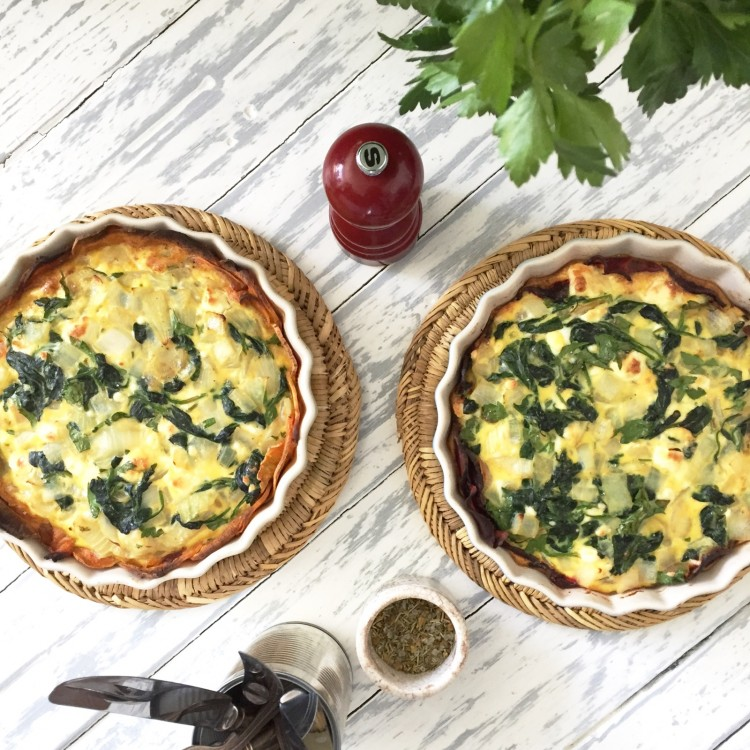 Spinach and feta quiche with a sweet potato crust